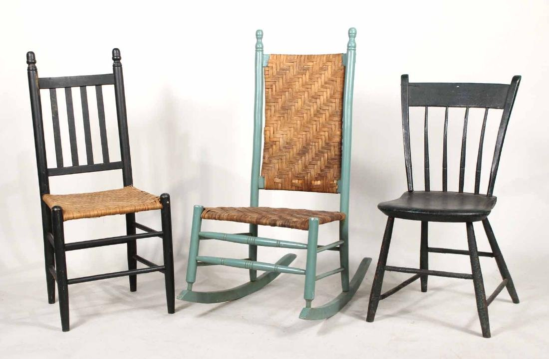 THREE GREEN-PAINTED SIDE CHAIRS