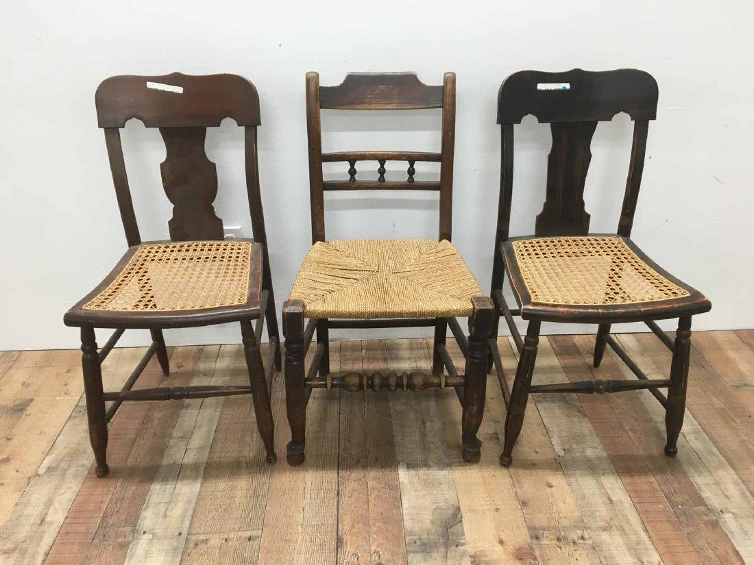 PAIR OF GRAIN-PAINTED CANE SEAT SIDE CHAIRS