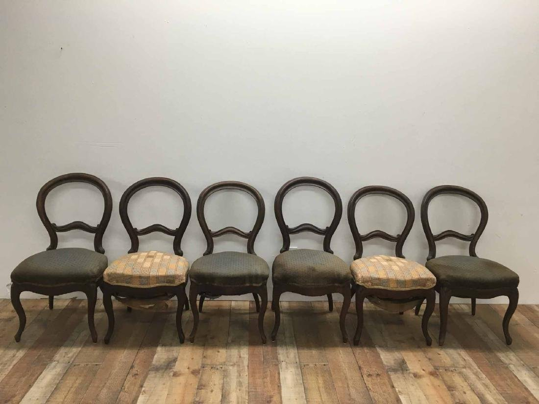 SIX VICTORIAN WALNUT BALLOON-BACK SIDE CHAIRS