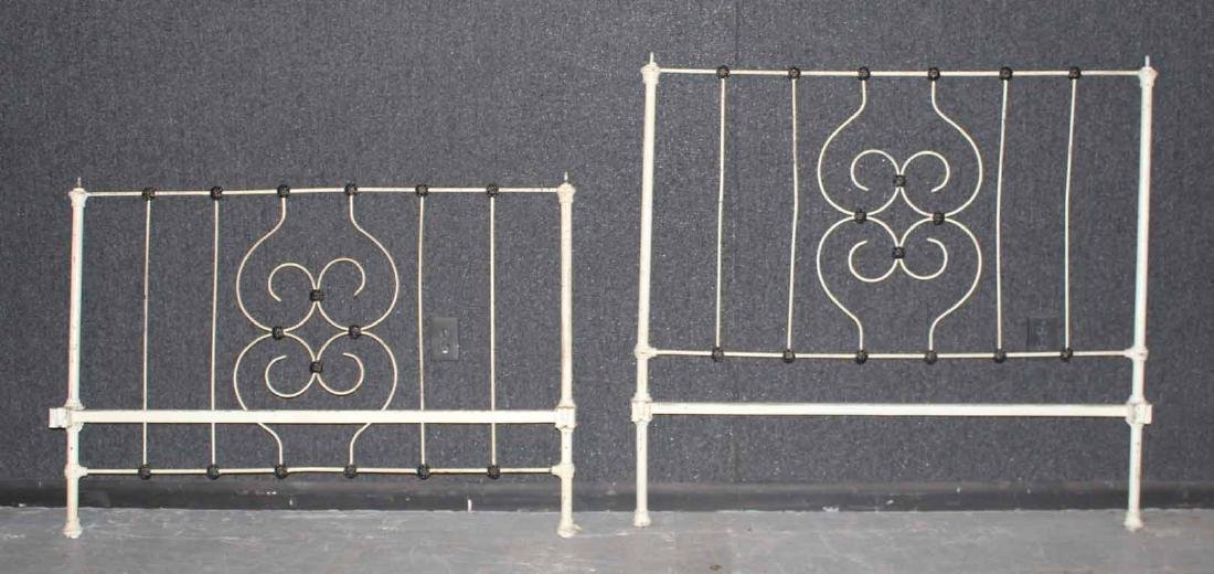VICTORIAN BLACK AND WHITE PAINTED IRON BEDSTEAD