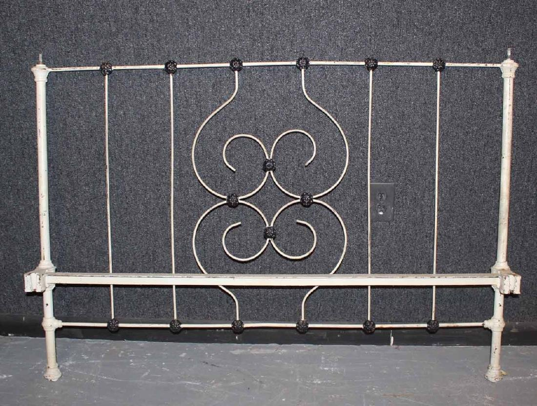 VICTORIAN BLACK AND WHITE PAINTED IRON BEDSTEAD - 3