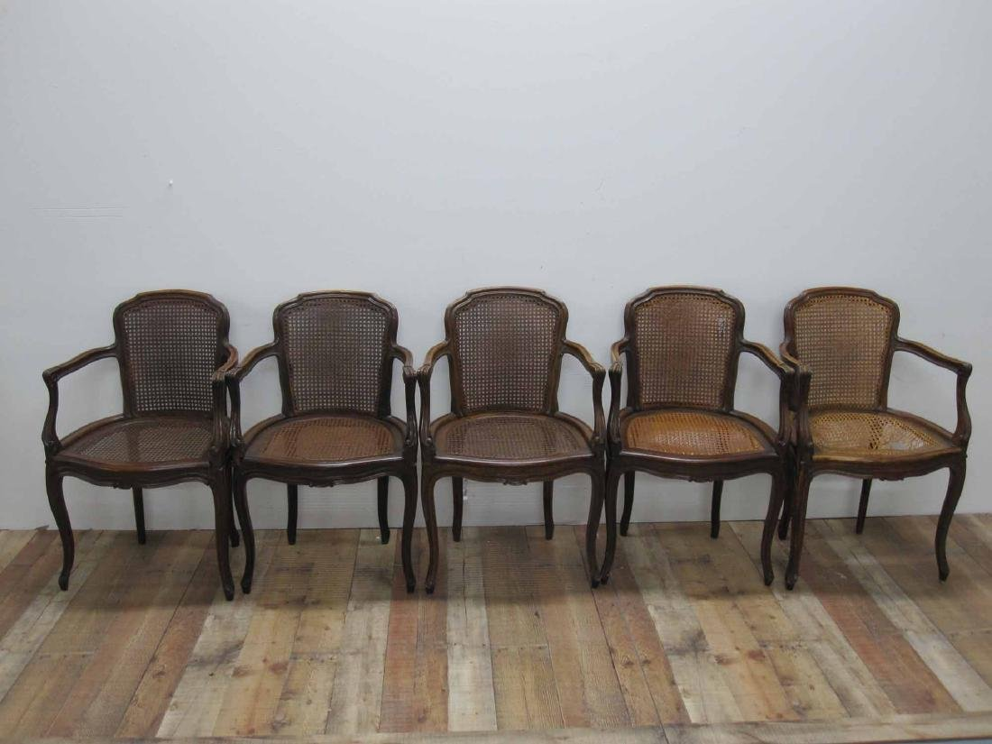 FIVE LOUIS XV STYLE ARMCHAIRS