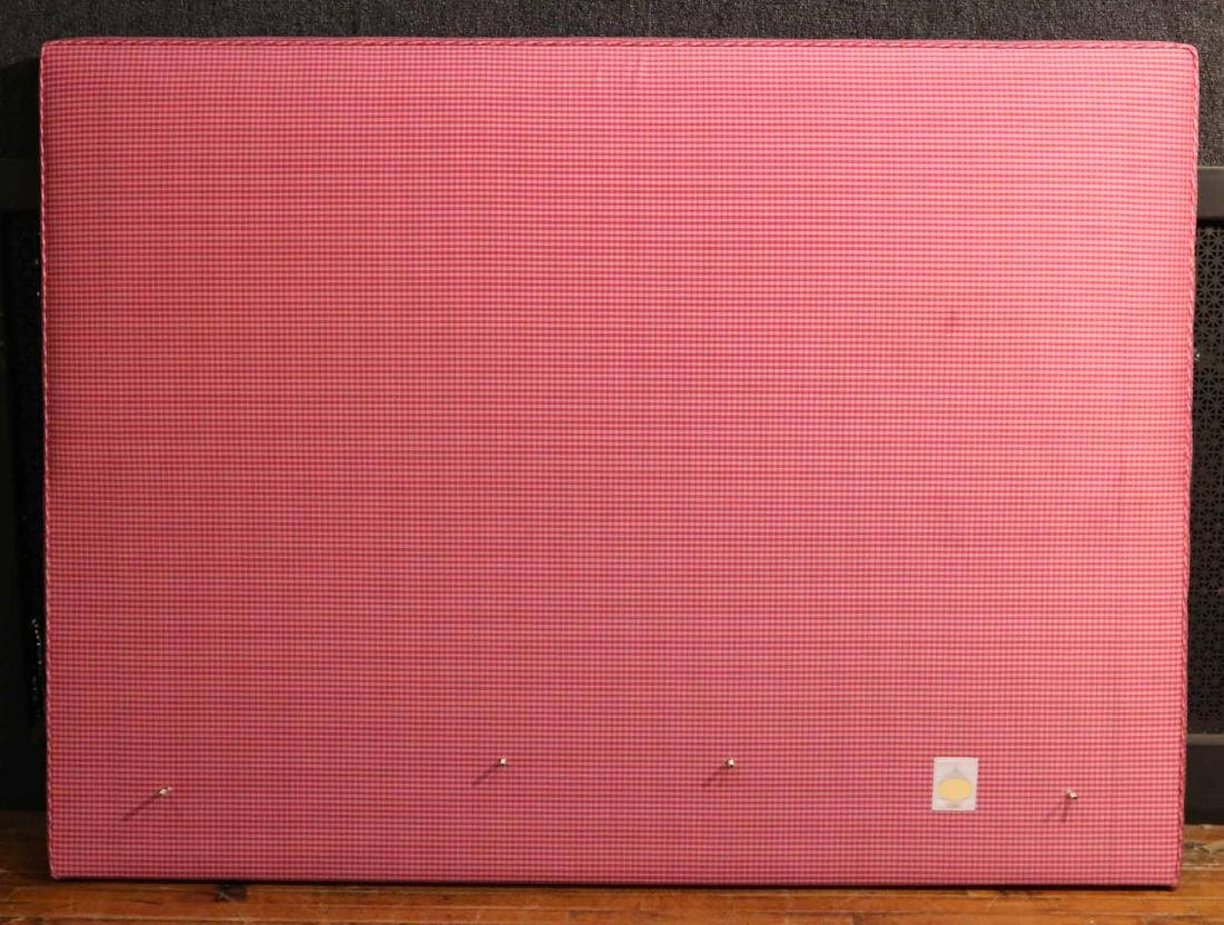 CONTEMPORARY PINK GINGHAM-UPHOLSTERED HEADBOARD