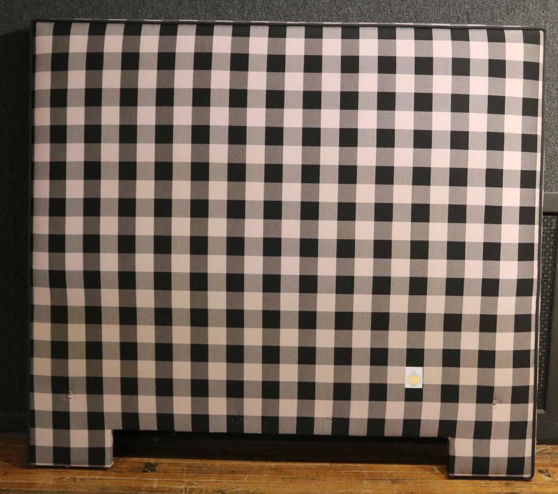 CONTEMPORARY GREY-GINGHAM UPHOLSTERED HEADBOARD