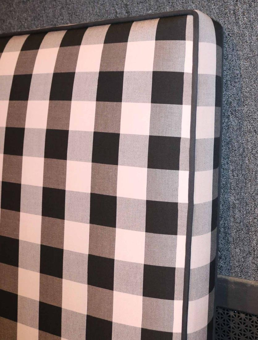 CONTEMPORARY GREY-GINGHAM UPHOLSTERED HEADBOARD - 2