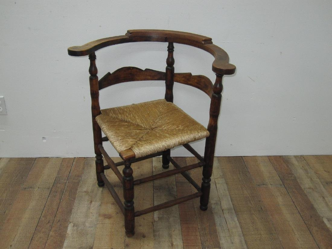 ANTIQUE RUSH SEAT CORNER CHAIR