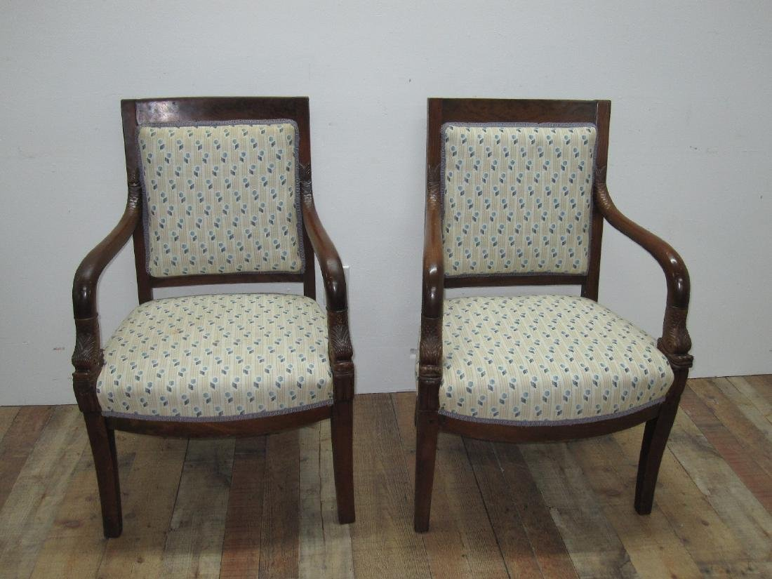 PAIR OF FRENCH EMPIRE STYLE ARMCHAIRS