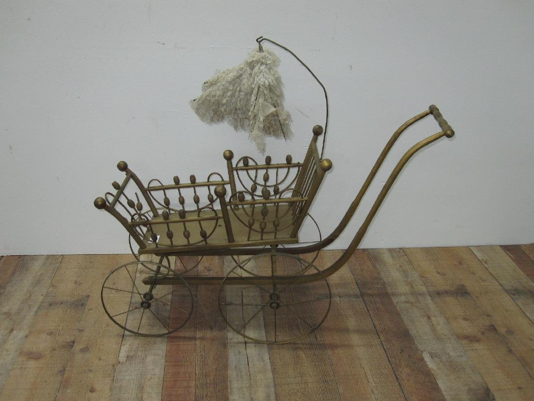 GILT PAINTED DOLL CARRIAGE