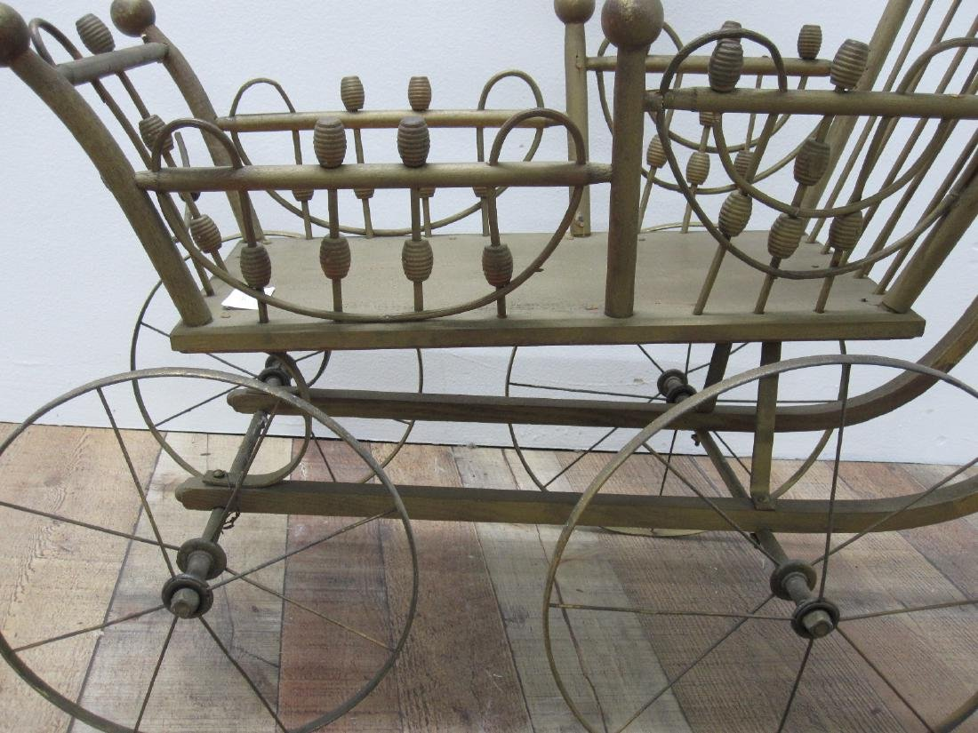 GILT PAINTED DOLL CARRIAGE - 2