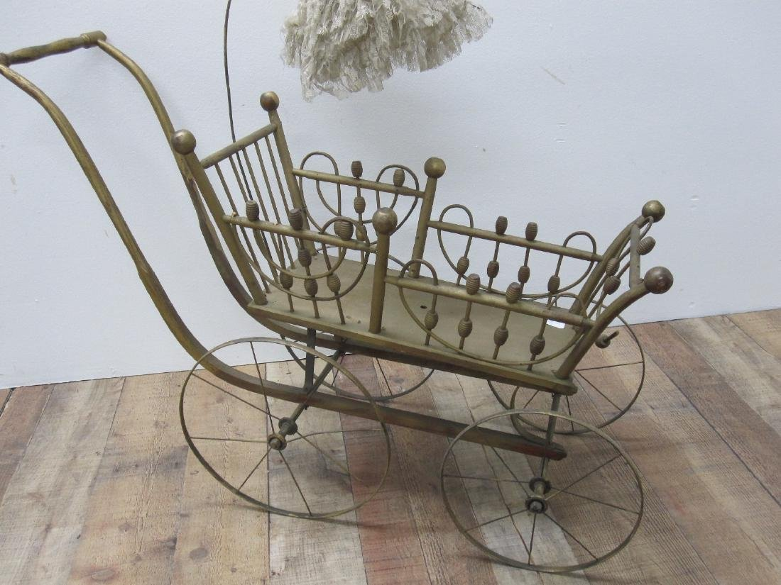 GILT PAINTED DOLL CARRIAGE - 4