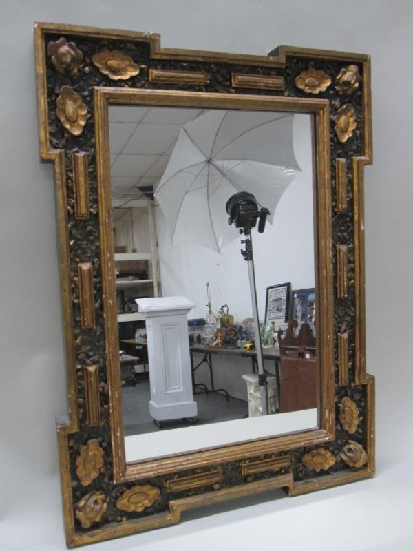 GREEN PAINTED GILT DECORATED WALL MIRROR