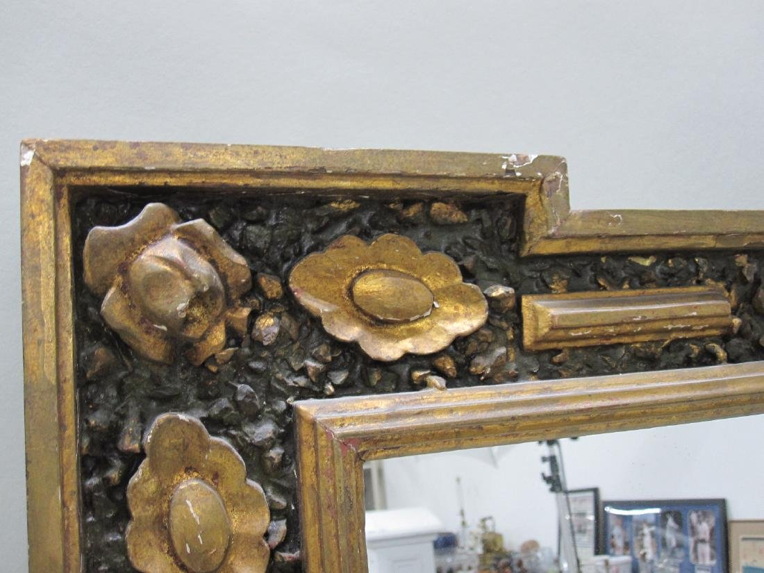 GREEN PAINTED GILT DECORATED WALL MIRROR - 2