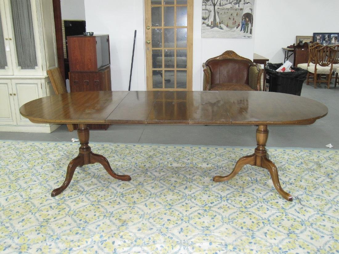 KITTINGER DOUBLE PEDESTAL DINING TABLE