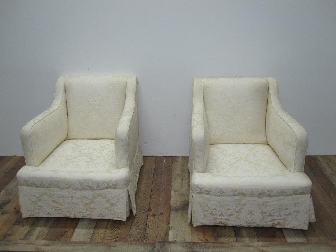 PAIR OF WHITE UPHOLSTERED EASY CHAIRS