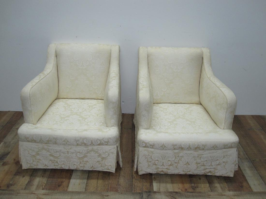 PAIR OF WHITE UPHOLSTERED EASY CHAIRS - 2