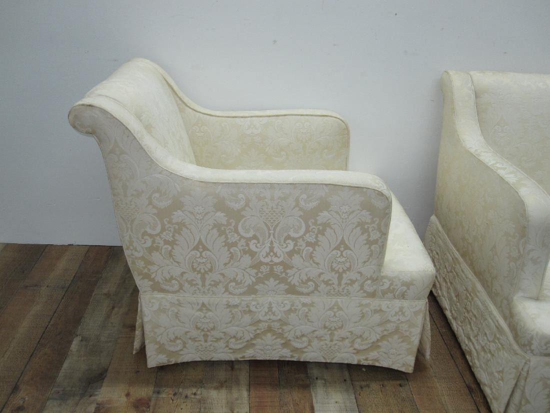 PAIR OF WHITE UPHOLSTERED EASY CHAIRS - 3