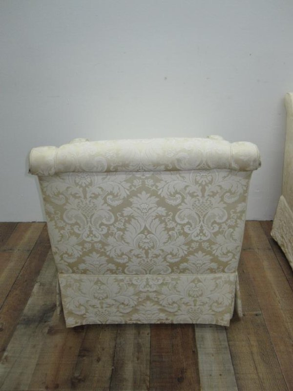 PAIR OF WHITE UPHOLSTERED EASY CHAIRS - 4