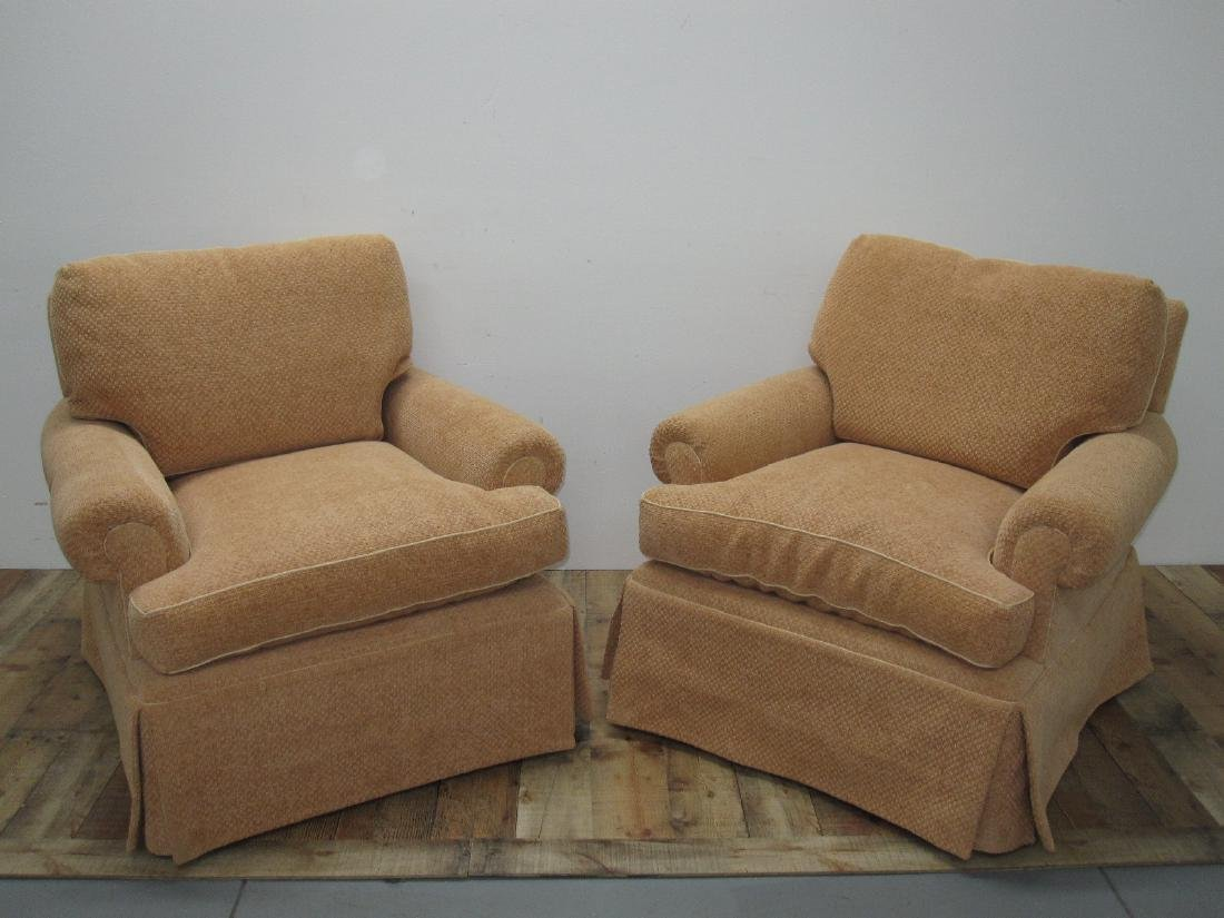 PAIR OF UPHOLSTERED EASY CHAIRS