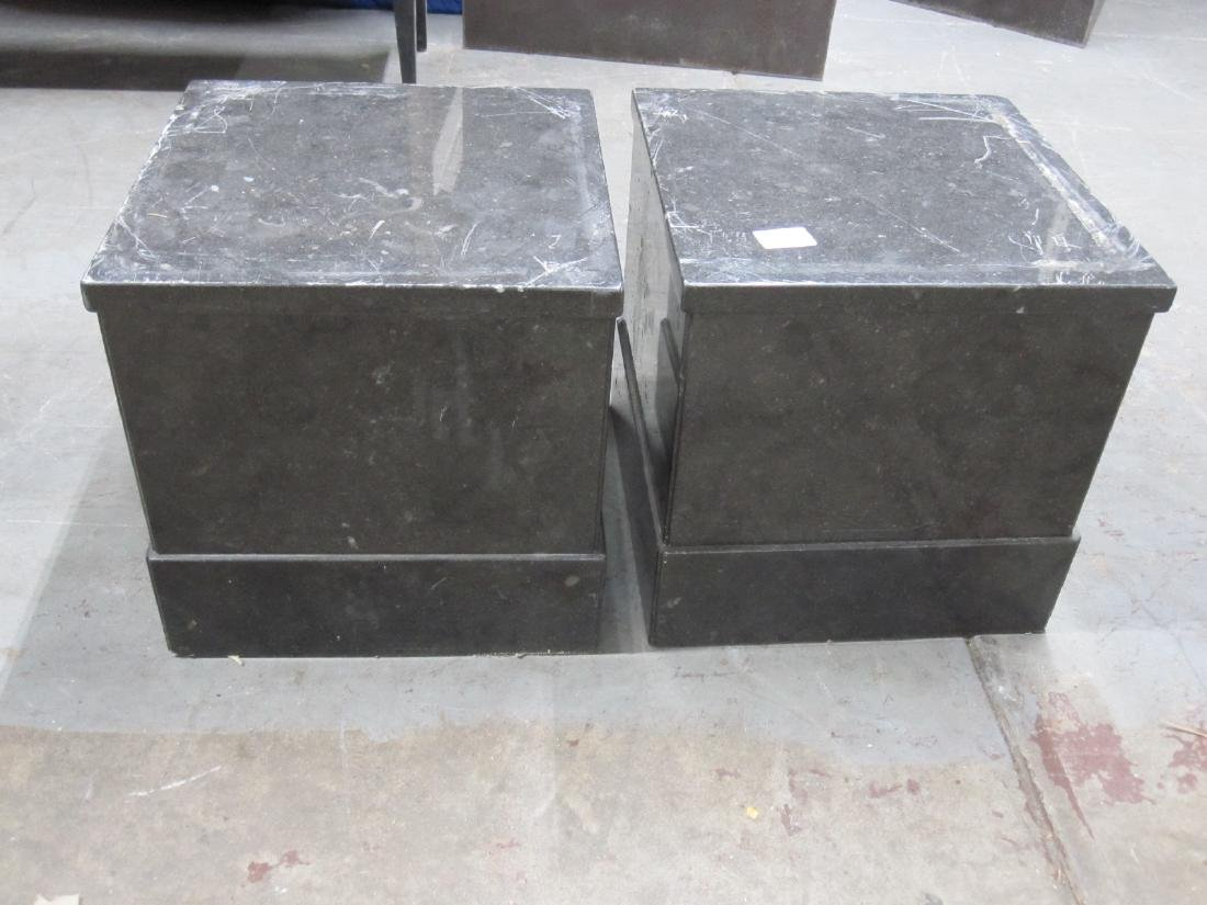 PAIR OF SHORT GRAY MARBLE PEDESTALS