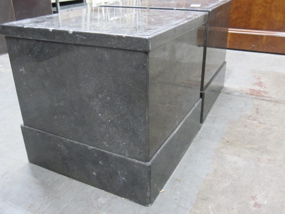 PAIR OF SHORT GRAY MARBLE PEDESTALS - 2