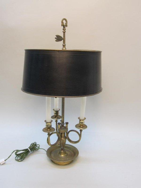 BRASS 3 LIGHT BOUILLOTTE TABLE LAMP