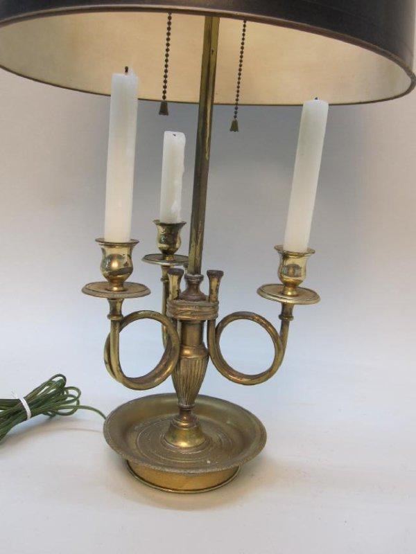 BRASS 3 LIGHT BOUILLOTTE TABLE LAMP - 2