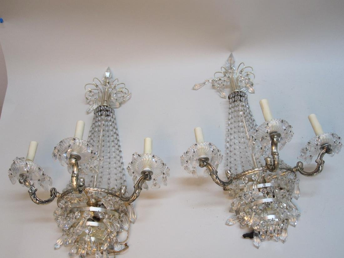 PAIR OF SILVERED METAL FOUR-LIGHT WALL SCONCES