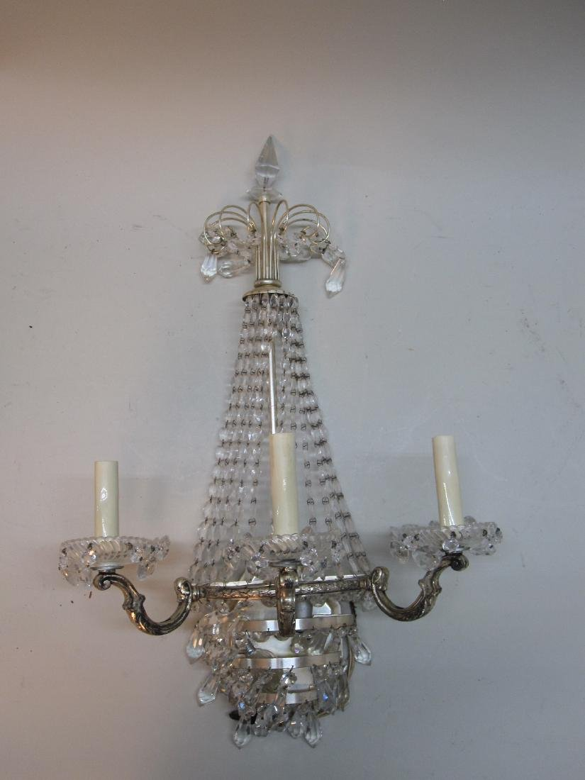 PAIR OF SILVERED METAL FOUR-LIGHT WALL SCONCES - 2