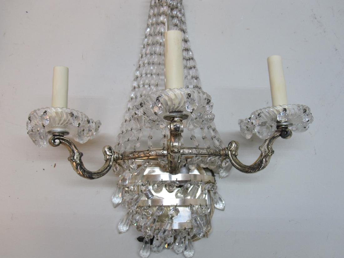 PAIR OF SILVERED METAL FOUR-LIGHT WALL SCONCES - 3
