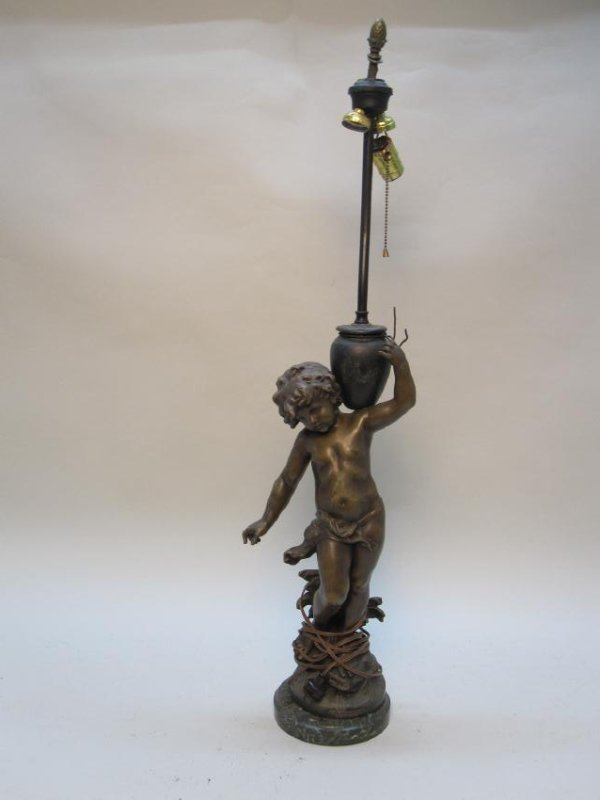 PATINATED METAL FIGURE OF YOUNG BOY WITH JUG - 2
