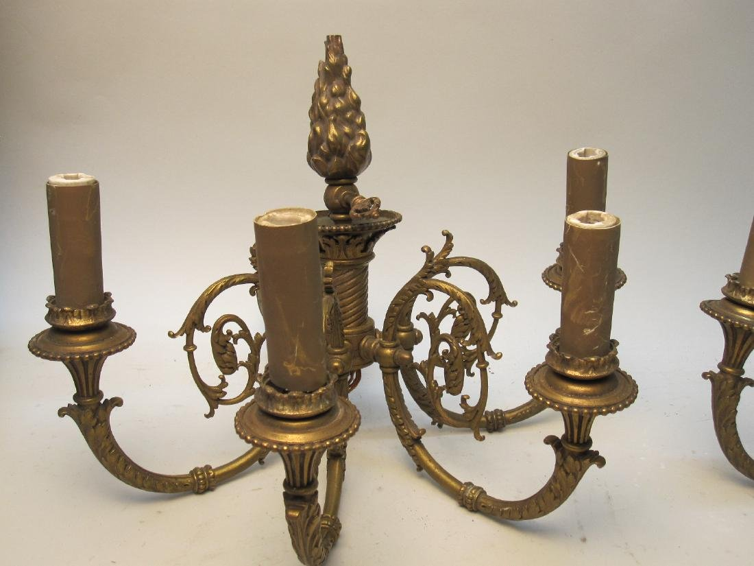 TWO PAIRS OF 4 LIGHT WALL SCONCES
