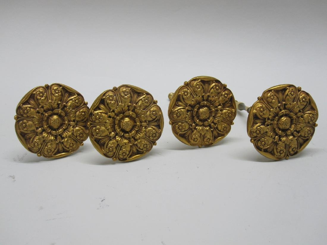 SET OF FOUR BRASS TIE BACKS - 3