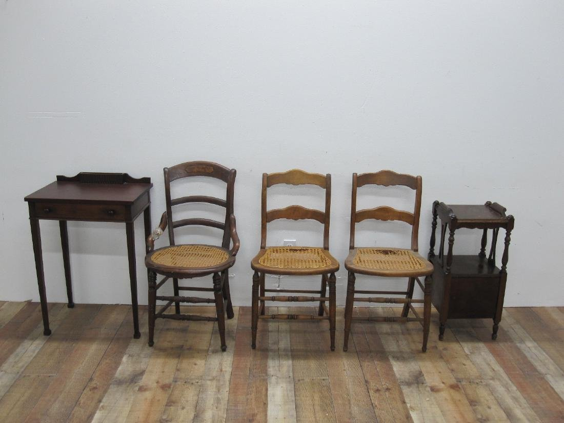 THREE ASSORTED COUNTRY SIDE CHAIRS