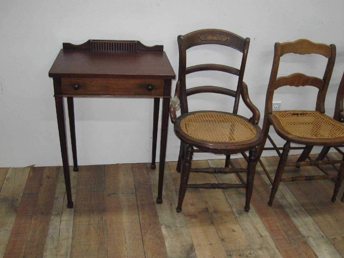 THREE ASSORTED COUNTRY SIDE CHAIRS - 3