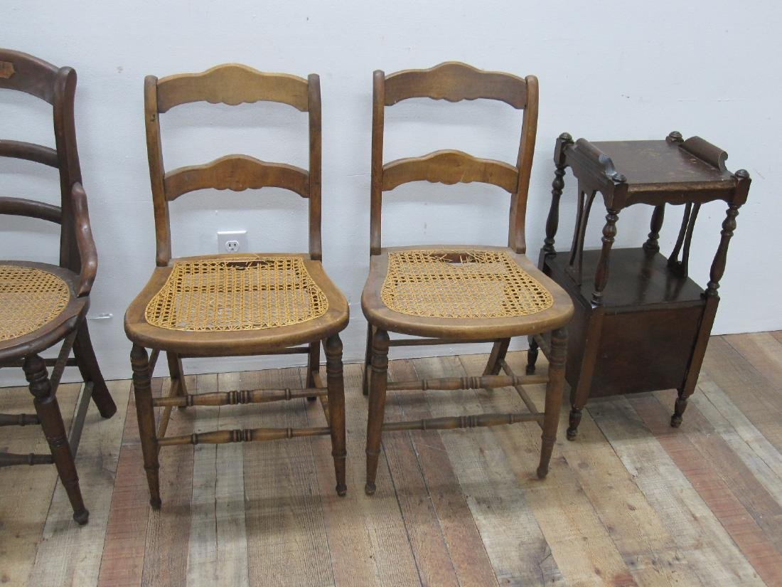 THREE ASSORTED COUNTRY SIDE CHAIRS - 5