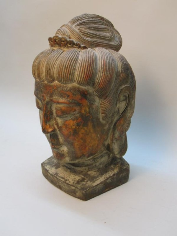 CARVED WOODEN BUDDHA HEAD - 2