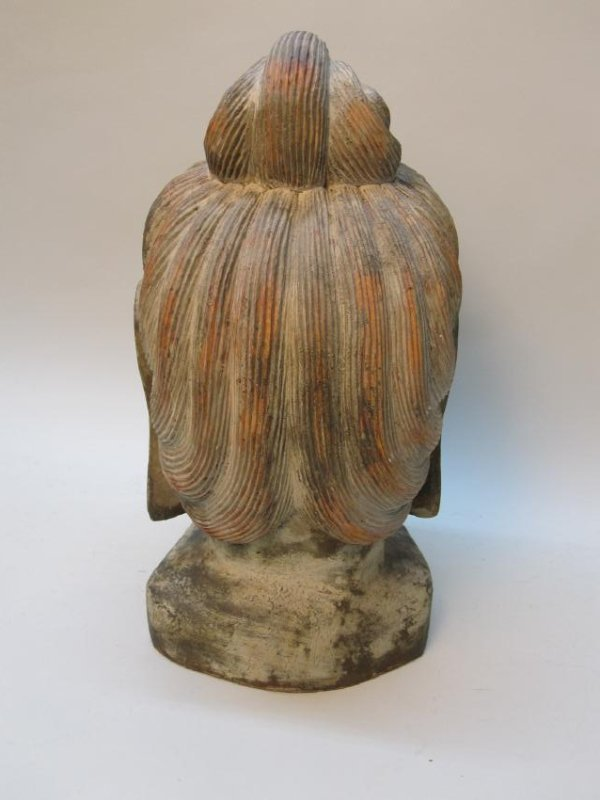 CARVED WOODEN BUDDHA HEAD - 3