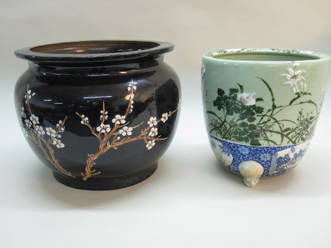 TWO ORIENTAL STYLE CACHE POTS