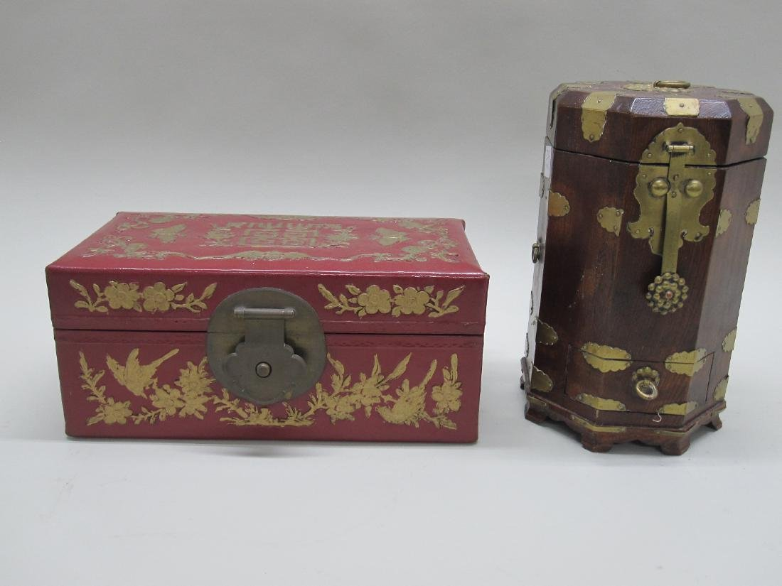 RED LACQUERED ORIENTAL STYLE BOX