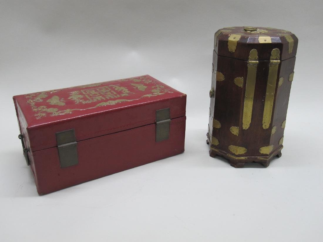 RED LACQUERED ORIENTAL STYLE BOX - 2
