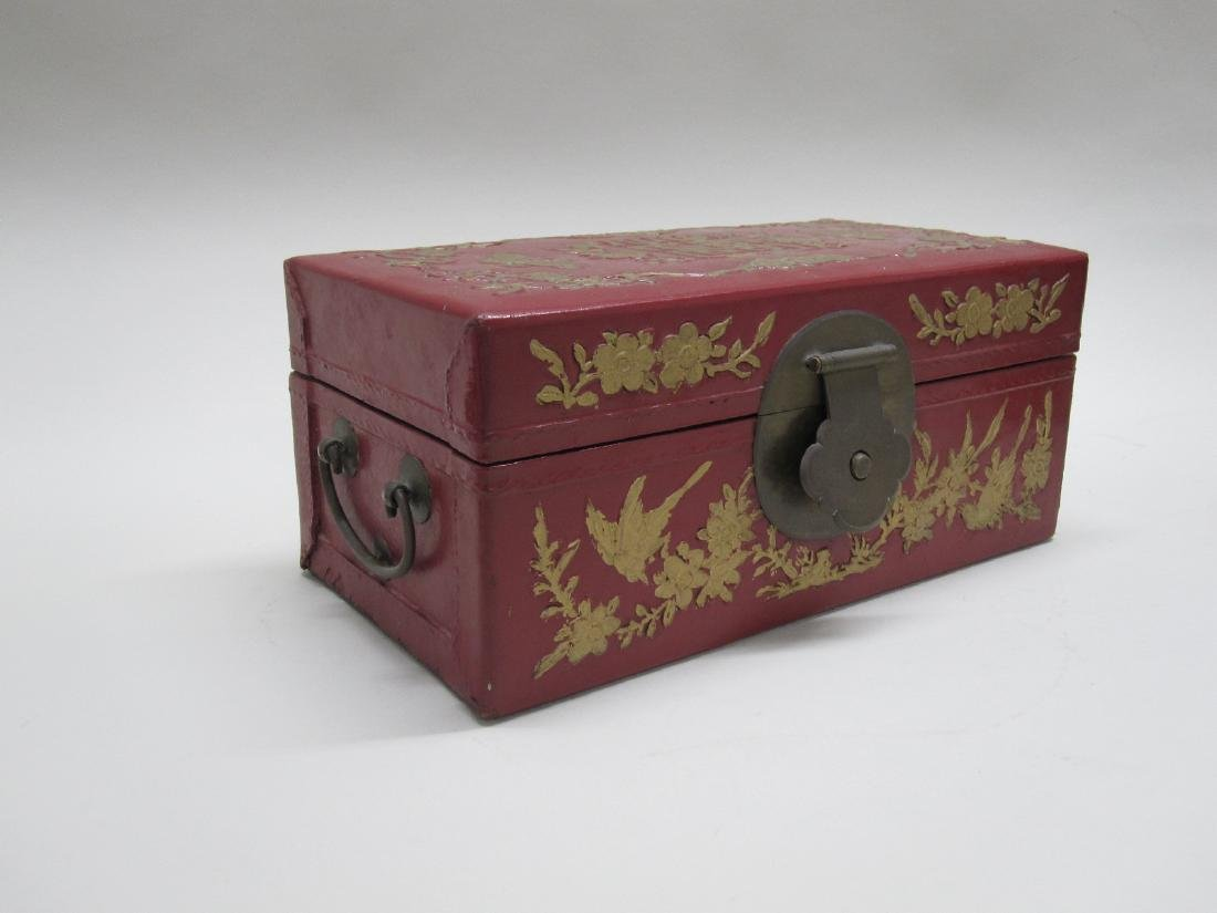 RED LACQUERED ORIENTAL STYLE BOX - 3
