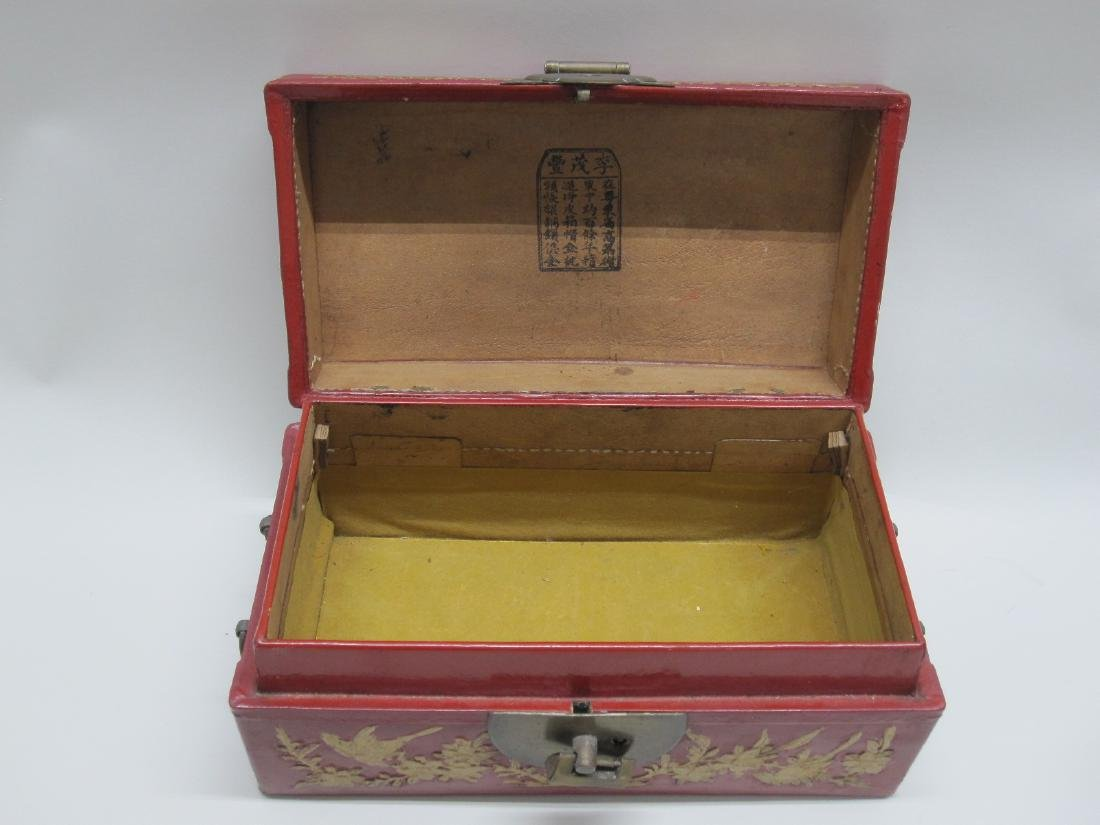 RED LACQUERED ORIENTAL STYLE BOX - 4