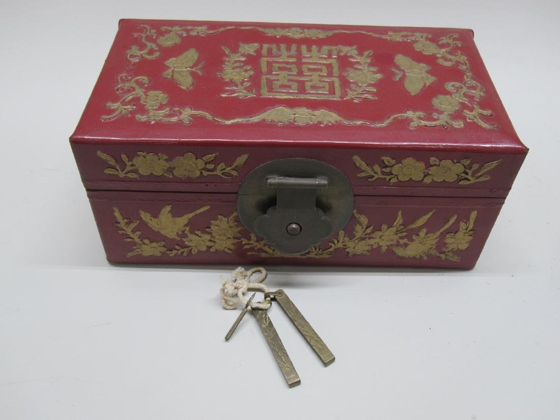 RED LACQUERED ORIENTAL STYLE BOX - 8
