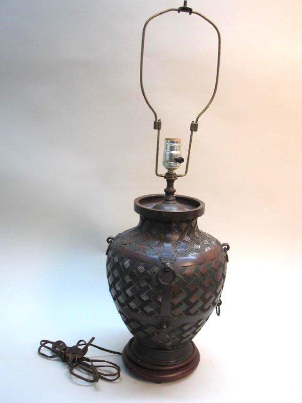 BRONZE ORIENTAL STYLE LAMP