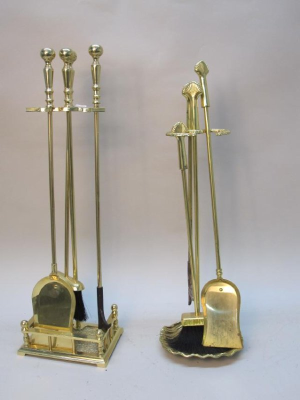 TWO SETS OF BRASS FIRETOOLS