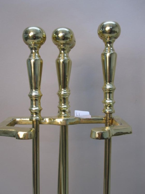 TWO SETS OF BRASS FIRETOOLS - 2