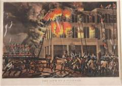 Lithograph The Life of a Fireman Currier  Ives