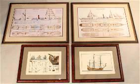 Four Framed Nautical Prints, Ships