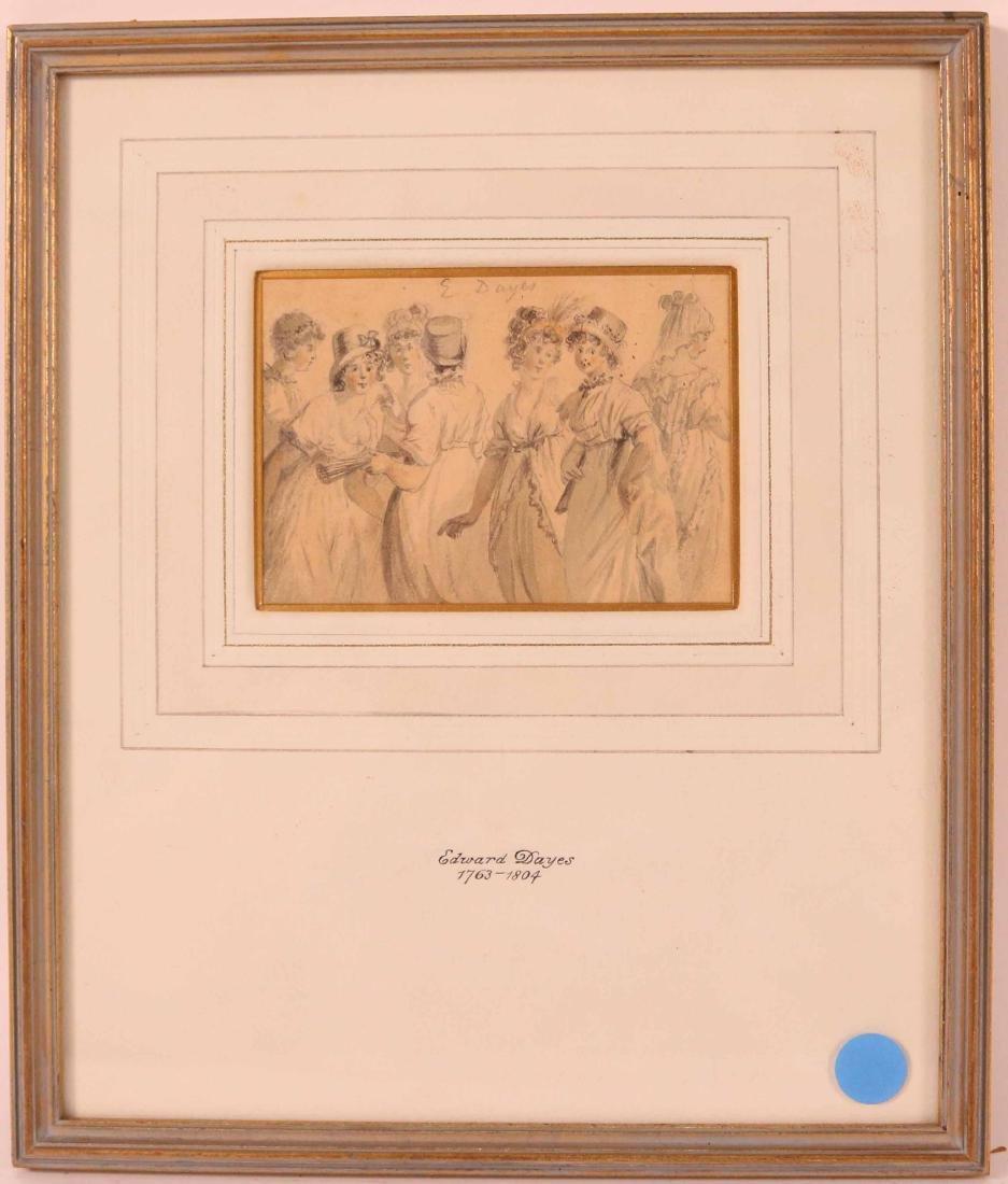 Ink Drawing, Edward Dayes, Gossiping Women
