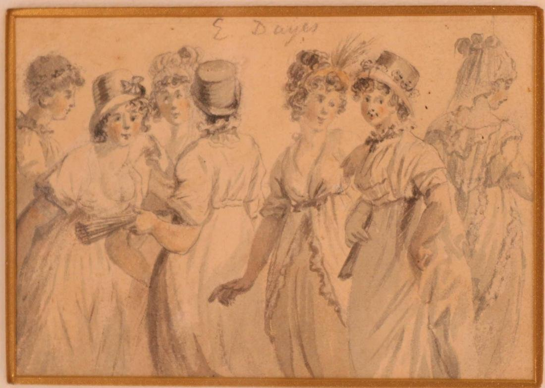 Ink Drawing, Edward Dayes, Gossiping Women - 2